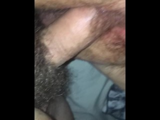 Hairy wet pussy fucked by small dick while playing with her clit