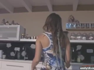 Teen tits in the kitchen