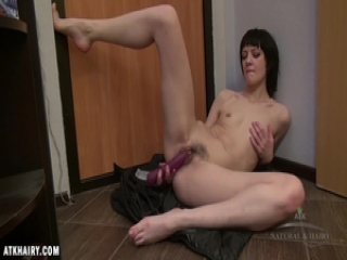 Lia tries it all on and grabs her dildo