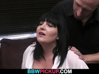 Fatty rides stranger's cock after blowjob
