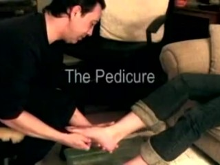 Women getting pedicure from a foot fetishist