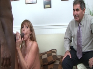 Darla Crane fucks black cock before her husband cleans up