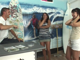 Threesome with 2 spanish sluts in the surf shop