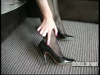 Sexy blonde stimulates your fetish with clack of her high stiletto heels to make you cum