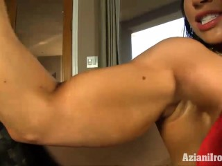 Sexy fitness model finger bangs her wet pussy for you