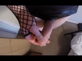 Twink femboy trap jerks off with two hands in stockings and panties cums