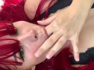 Home ALONE playing with my pussy and big boobs – green eyed redhead in sexy lingerie