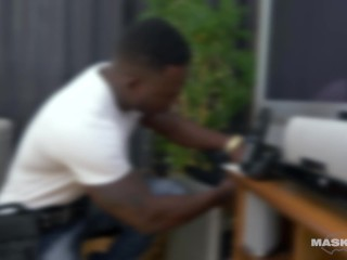 Straight Muscle Hunk Cable Guy Jerking His Big Black Dick