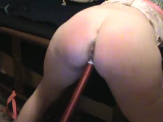 Sexy Milf Redhead Rides Pool Stick and gets fucked doggystyle