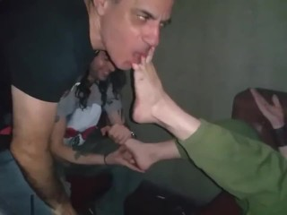 Amateur foot worship in a club