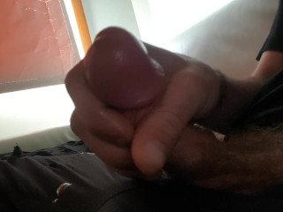Wanking my hard cock about to ejaculate