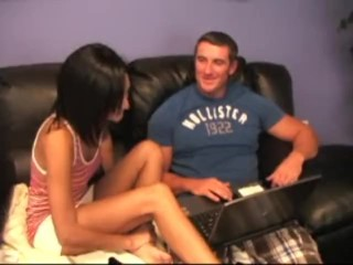 cute young brunette gives amazing footjob with cumshot