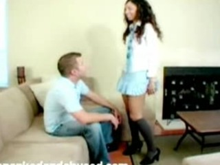 Tight brunette spanked and jized on