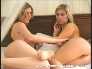 Arwen strips in nylon pantyhose