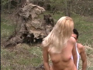 German chick takes on two dicks