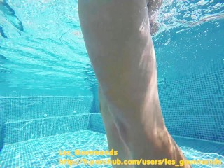 Hot Milf with Buttplug in the pool, fucked, big cumshot