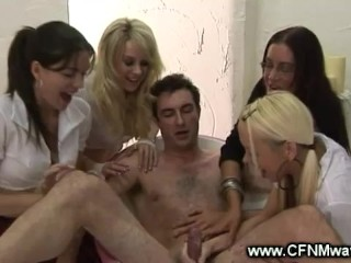 Hot babes pull cock till it cumshots over their hands