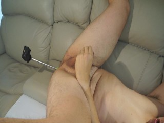 Loud orgasm with camera on anal selfie stick