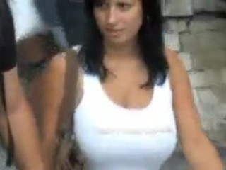Compilation massive boob bouncing and walking in street