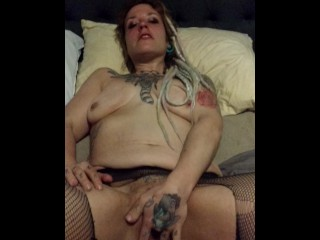 punk rock girl getting fucked by a pool stick