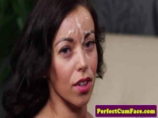 Stockinged brit facialized after giving head