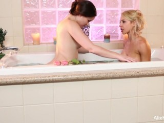 Sexy Alix takes a bath with her brunette friend