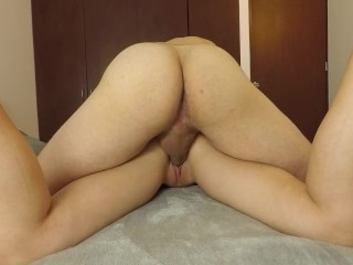 AMATEUR CREAMPIE He can't resist my tight pussy and cums in 2 minutes!