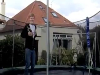 Red head gets crazy on a trampoline