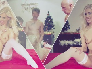 Orgy for Christmas sexy girl Nesty gangbang fucked by 8 old men
