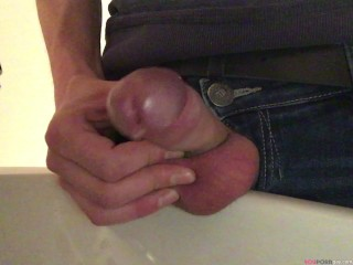 Fetish gay boy is pissing – close up