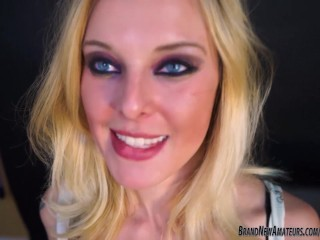 Hot blonde sucks a cock while on cell phone with boyfriend