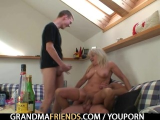 Grandma takes double cumshot after sex