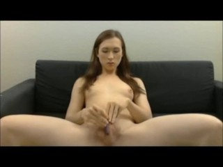 TS jerks off fingers and cums