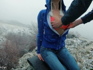 Lost hikers have rough anal sex to stay warm in snow – 2 orgasms 1 cumshot