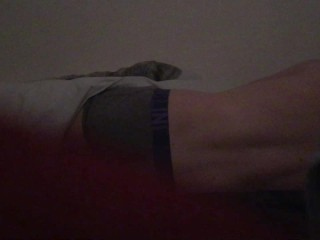 Spying on my step brother who locks the door to moan and cum