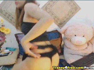 Beautiful Blonde Tranny Plays Her Hard Cock