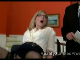 Horny mature blonde whore doesnt care about her husbands presence and teases big black stud
