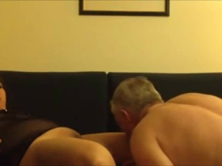 Asian mature lady receiving oral