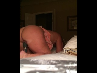 Wife moaning and cumming hard from doggy style wand vibrator on hidden camera.