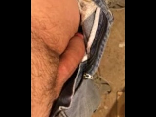 Boing !! Hot cock pops out of jeans and stokes