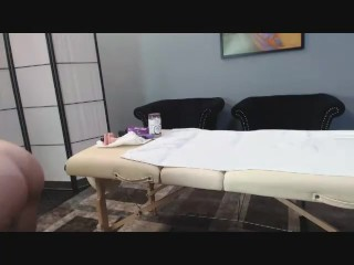 Webcam Girl Masturbates on Massage Table