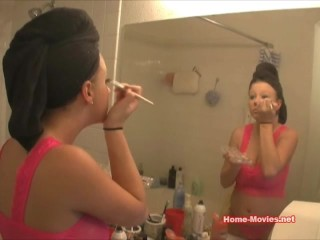 Hot Chick Putting On Her Makeup