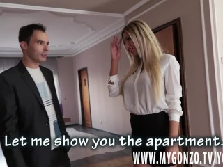 Blonde Bimbo Rebeca Cerrera Gets Tricked Into A Threesome By The Fake Agent