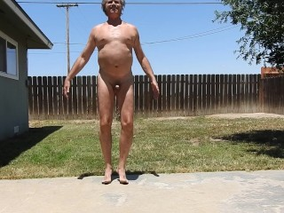 Naked exercise and a pee.