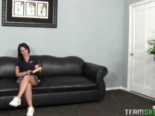 Cute brunette teen Mia plundered in the principals office