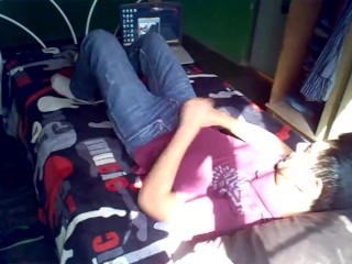 Mexican teen jerk off on bed and show amaizing cum shot!