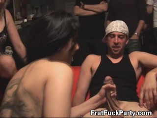 Dirty College Brunette Sucking Dick At Frat Party