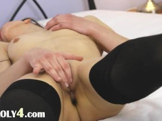 Black lingerie and babes pussy rubbing