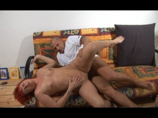 Naughty red head swallows his head