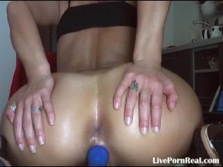brunette playing hard with a blue dildo(4).flv